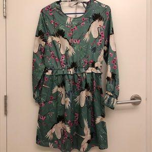 Beautiful Heron Cherry Blossom Print Dress